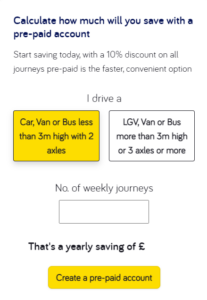 Our new travel calculator which shows how much you can save with a Pre-paid account.