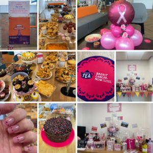 Breast Cancer awareness themed cakes, balloons and raffle collage