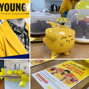 Collage of yellow items relating to young minds
